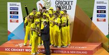 Dr N Srinivasan presents Australia with World Cup 2015.