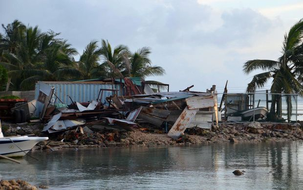 Structures damaged during storms brought on by Super Typhoon Maysak near the village of Mwan on the island of Weno in the Micronesian state of Chuuk. Federated States of Micronesia