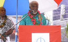 Vanuatu's Prime Minister, Joe Natuman, speaks at the groundbreaking ceremony of a Chinese-funded US$50 million road project in Tanna, Vanuatu.