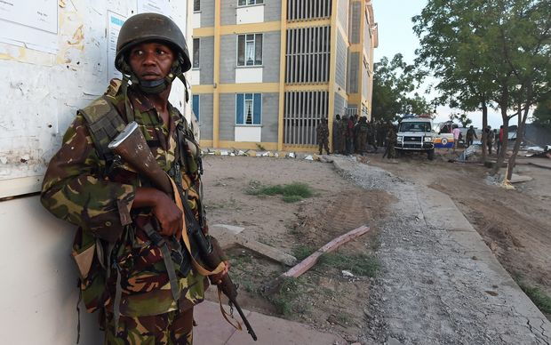 A Kenyan soldier standing guard at the Garissa University campus.
