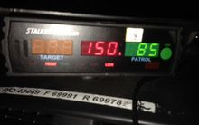 The patrol clocked the car going at 150 km/h.