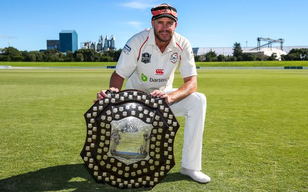 Canterbury's Peter Fulton with the Plunket Shield