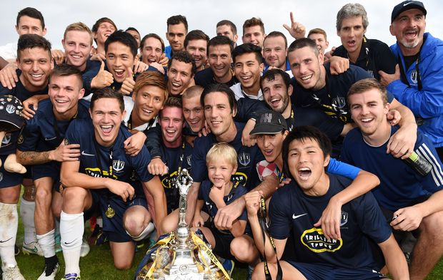 Auckland City celebrate with the trophy, 2015.