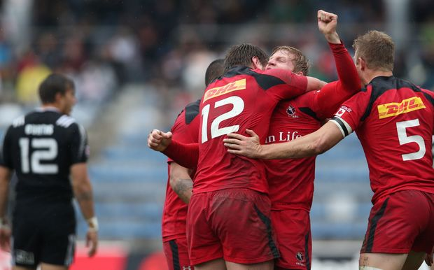 Canada celebrate their 1st victory over the All Black Sevens, Tokyo, 2015.