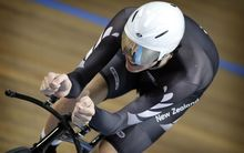 Jesse Sergent riding for the New Zealand track cycling team, 2011.