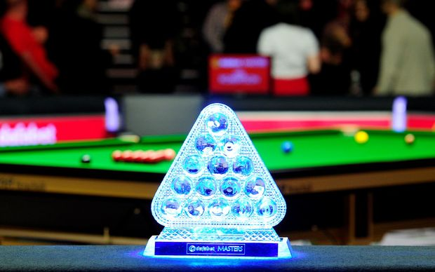 Alexandra Palace, London, England. Masters Snooker. The Masters winners trophy.