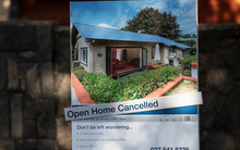 Open home cancelled sign