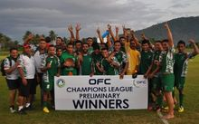Lupe Ole Soaga celebrate winning the OFC Champions League Preliminary in October.