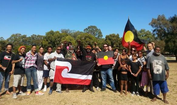 Noongar and Maori rights campaigners at Matagarup or Heirisson Island, near Perth