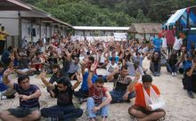 Refugees protest on Nauru against offshore processing in defiance of a new law requiring 7 days notice of a protest.
