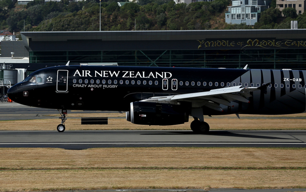 Air New Zealand plane taking off from Wellington Airport.
