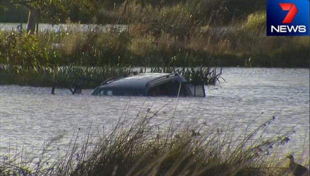 Screenshot of the car submerged in a Melbourne lake.