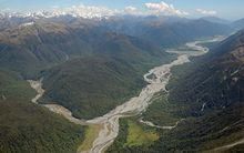 The Otira River, left, joins the Taramakau River on the West Coast.