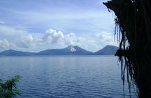 View of Papua New Guinea's Mt Tavurvu from across the Rabaul Harbour.