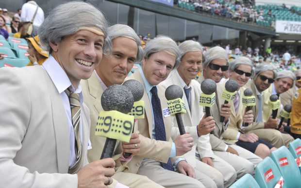 Spectators dressed Richie Benaud watching the New Year's Test between Australia and Pakistan in Sydney in 2010.