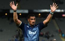 Blues captain Jerome Kaino hails the crowd after their win over the Brumbies