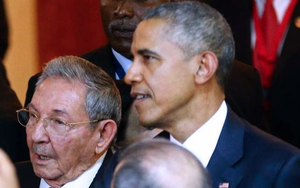 Cuban President Raul Castro and US President Barack Obama at the 7th Americas Summit in Panama City.