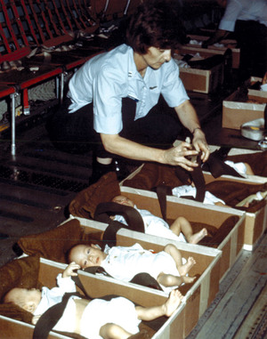 Some of the thousands of babies and children being transported out of Vietnam at the fall of Saigon.