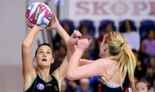 West Coast fever player Natalie Medhurst shoots against the Mainland Tactix.