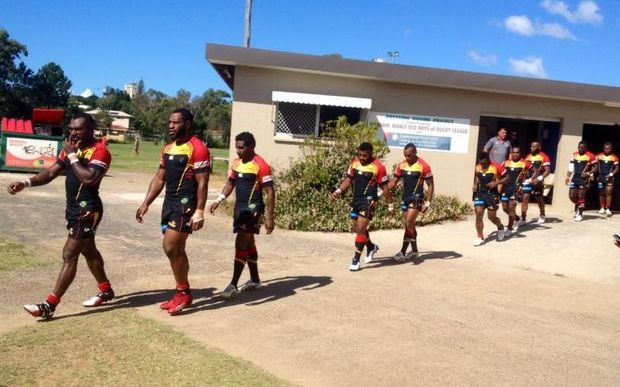PNG Hunters players walk out against the Wynnum Manly Seagulls.