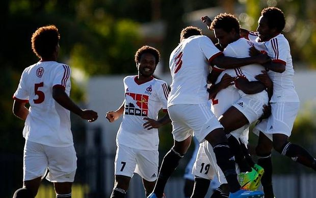 Hekari United players celebrate scoring a goal against Tafea FC.