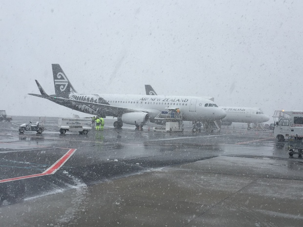 Queenstown airport in the snow.