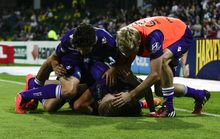 Perth Glory celebrate a goal ...but will the celebrations continue?
