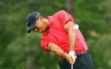 Tiger Woods in action during the final round of the US Masters.