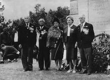 Pirimi Tahiwi and his wife Mairatea (second and third from left) photographed in 1965 with RSA officials at the New Zealand Memorial, Chunuk Bair, 50 years after the Gallipoli campaign.