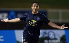 Auckland City's Darren White celebrates his goal.