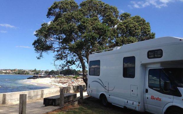 A campervan at Takapuna Beach holiday park.