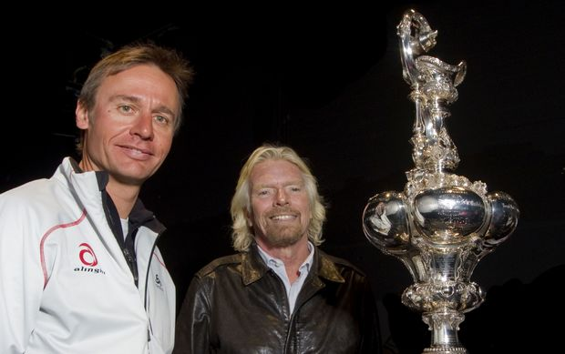 Ernesto Bertarelli and Richard Branson with the Americas Cup in 2010.
