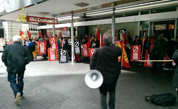 A protest held in Auckland in mid-April against McDonald's zero-hour contracts.