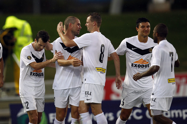 Team Wellington celebrate a goal at the 2015 Oceania Champions League.