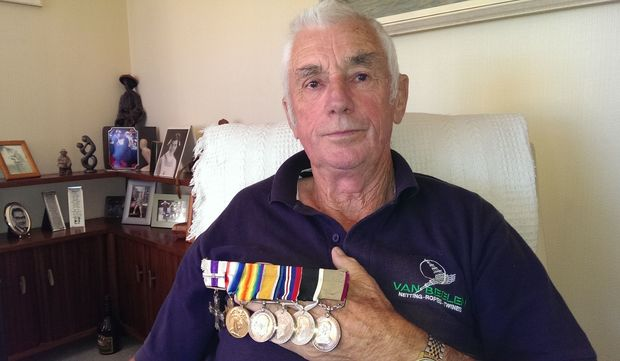 Rod, with his father's medals.