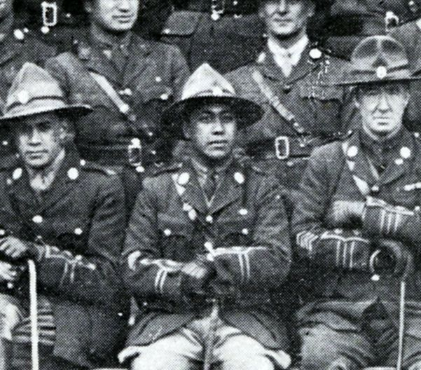 Pirimi Tahiwi, in a photo showing officers of the New Zealand Pioneer Battalion in 1919.