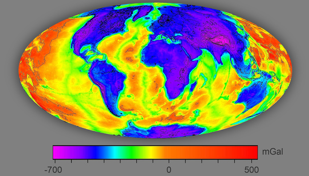 This Bouguer model shows thin crust (red), where the planet's hot mantle is relatively shallow, increasing the chance of exploiting geothermal energy.