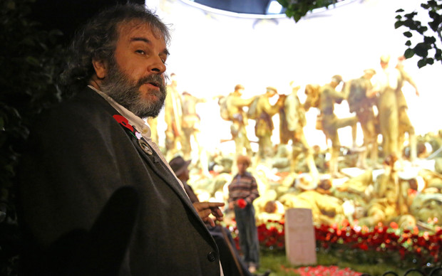 Sir Peter Jackson at giving the tour of the new WWI exhibition at Dominion Museum,Wellington.
