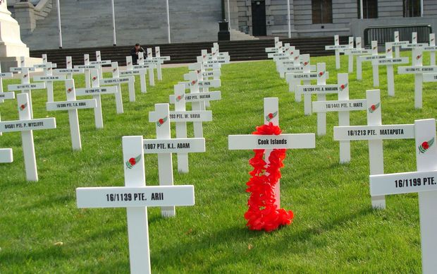 White crosses representing Cook Islands soldiers, WWI