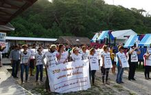 Protesters gather on Nauru to protest resettlement in Cambodia