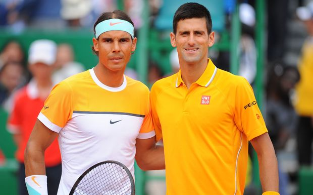 Novak Djokovic and Rafael Nadal pose before the start of their Monte Carlo semi-final, 2015.