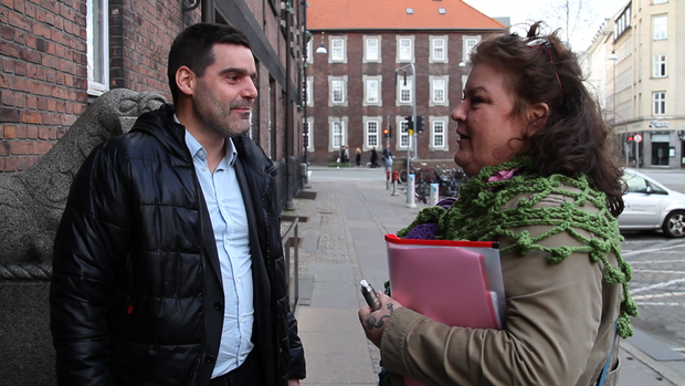 Anti radicalisation official Muhammed Hee and Karolina Dam in Copenhagen.