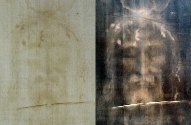 The Turin Shroud, with digital processing of the original image on the right.