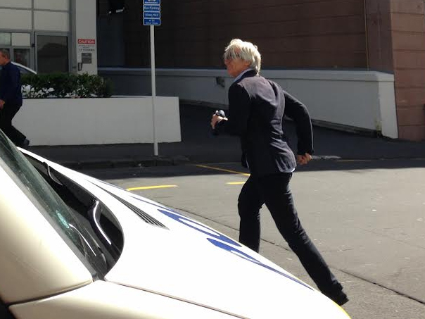 Alex Swney leaving court, 21 April.