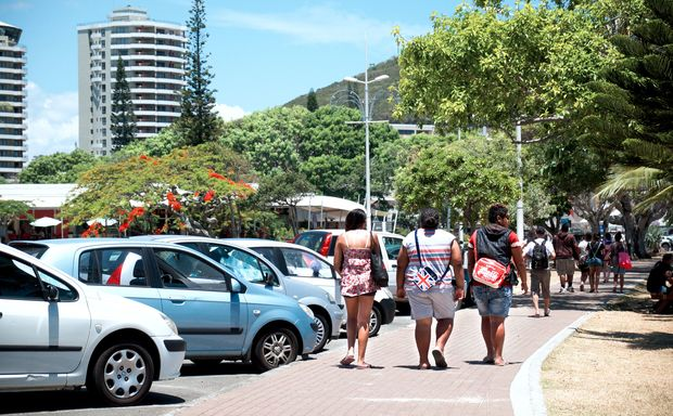 People walking the streets of Noumea in New Caledonia.