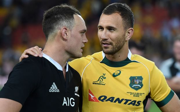 The All Blacks Israel Dagg and the Wallabies Quade Cooper.