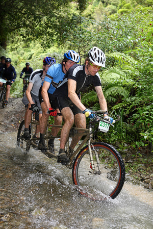 The Kennett Brothers - Paul, Jonathan and Simon - racing in the Karapoti Classic mountain bike event.