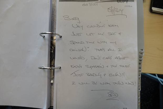 The note - as produced in police evidence during the inquest.