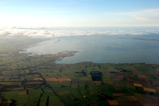 An aerial view of Lake Ellesmere.