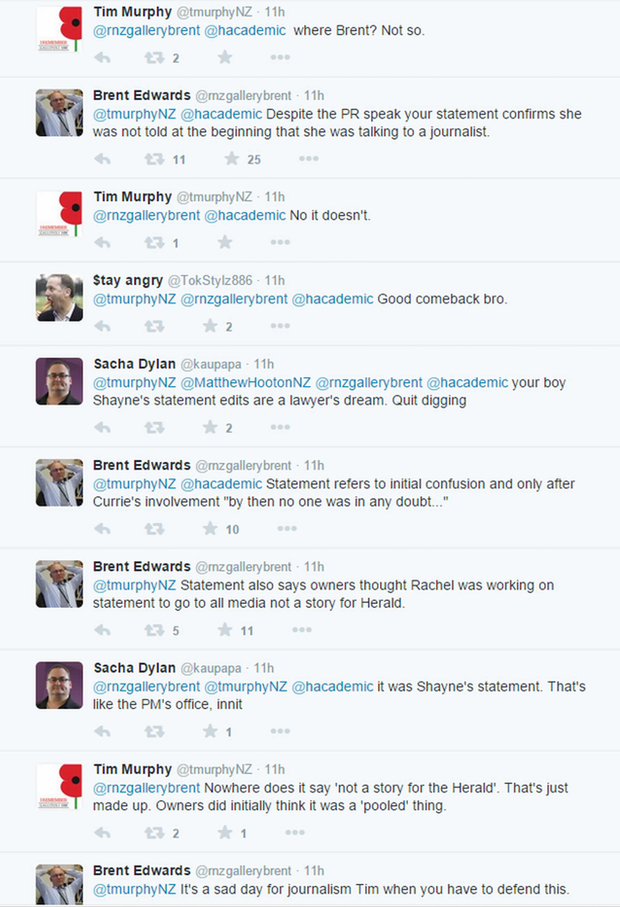 The Twitter exchange between Brent Edwards and Tim Murphy.